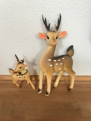 VINTAGE SOFT PLASTIC RUBBER DEERS Reindeer Set of 2 Figures - MADE IN JAPAN