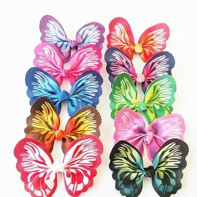 50 Large Dog Hair Bows Butterfly Dog Grooming Accessories