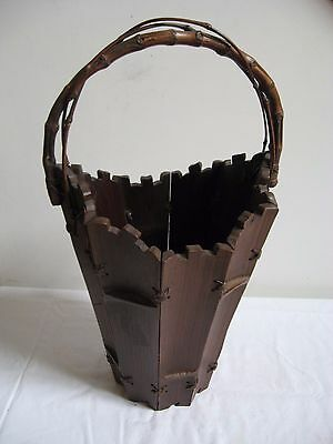 Vintage Primitive Segmented Wood Basket