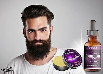 Compton Premium Beard Balm & Oil Set (Paradise) 50 G All Natural Melbourne Made