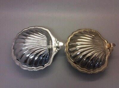 2 Silver tone Clam Shell Dishes Caviar Butter Relish Server YHS Glass Inserts