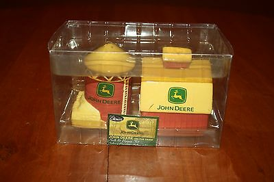 John Deere On the Farm Ceramic Salt and Pepper Set by Gibson New in the Box EUC