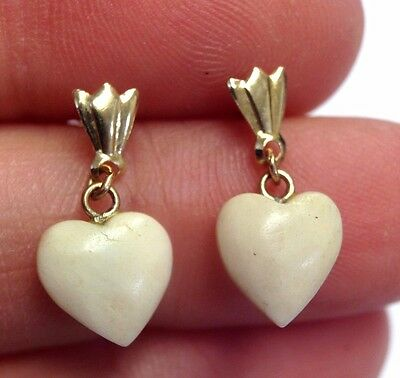 14K Yellow Gold Carved White Heart Drop Earrings