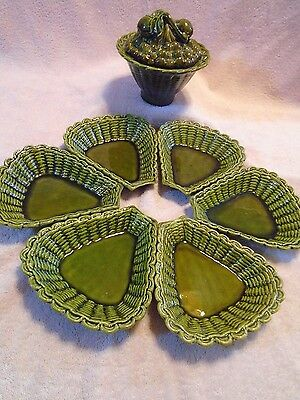 Vintage 8 Piece set of Green Calif  Pottery Bowl, Lid  and Dishes