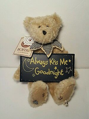 "Boyds Bears Oliver Hugh 10"" Always Kiss Me Goodnight  Tags"