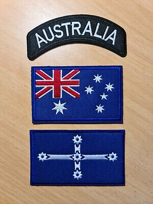 3pcs Aussie Biker Motorcycle Vest Embroidered Patches Applique Badge Iron Sew On