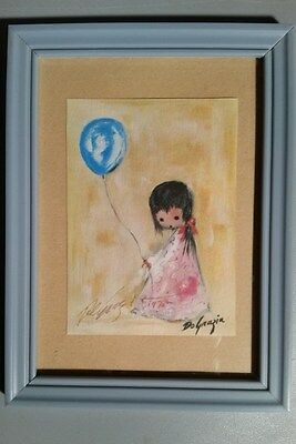 "Small Hand Signed TED DEGRAZIA 1975 Girl With Balloon  7.75 X 5.75"" Frame"