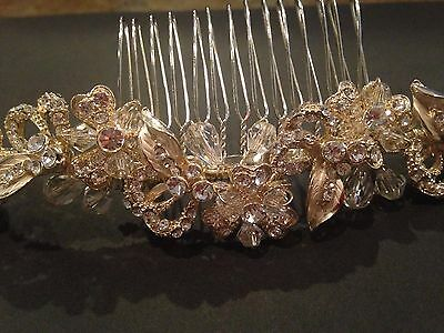Ava Couture Headpiece Light Gold and Crystal Delicate Floral on Comb