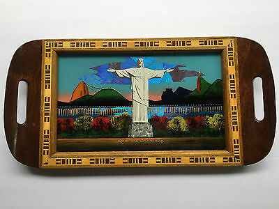 Vintage Christ the Redeemer Rio De Janeiro Wood Inlay Tray w/ Iridescent Wings