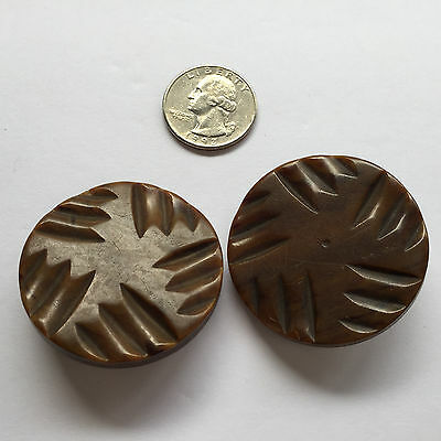 "2 Vintage Mid Century Brown Carved Textured Plastic Shank Buttons 1 5/8"" Sewing"