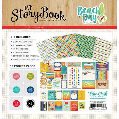 "Carta Bella My Story Book Pocket Page Kit 12""X12""-Beach Day BD54039"
