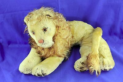 Vintage Steiff Mohair Reclining Lion Glass Eyes Stitched Nose No Button 1960's