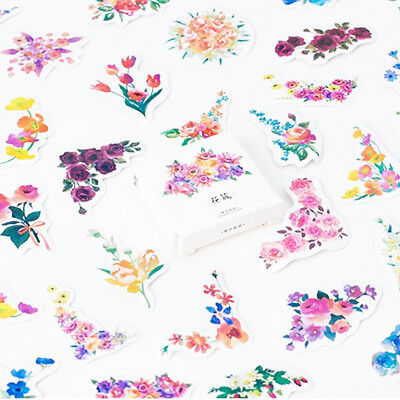 45 pcs/pack Blooming Flower Decorative Stickers Adhesive Stickers DIY Stickers