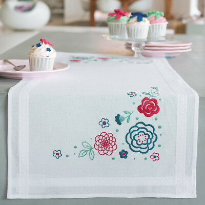 """Modern Flowers Table Runner Stamped Embroidery Kit-16""""X40"""" V0155020"""