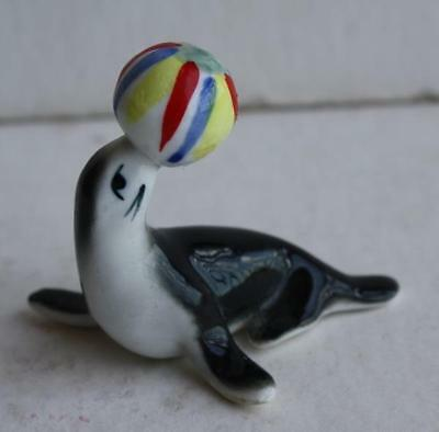 Vintage Bone China Hand Painted Miniature Seal w-Striped Ball on Nose Figurine