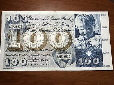 1967 Switzerland 100 Francs world foreign banknote great condition
