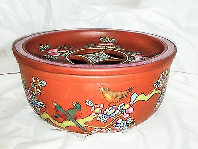 Antique Chinese Yixing Pottery Enameled Peach Bird Famille Rose Warmer Burner