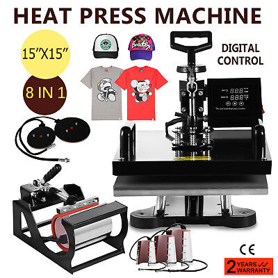 8In1 Digital Heat Press Machine Swing Away Printing Sublimation Updated Pro