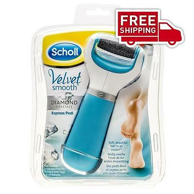NEW Scholl Velvet Smooth Express Pedi Electronic Foot File with Diamond Crystals