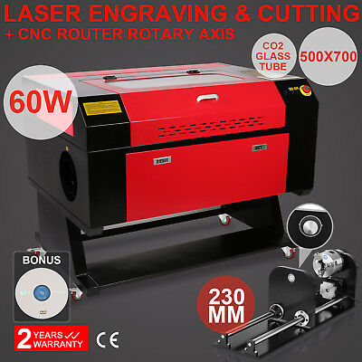 """60w Co2 20""""X28"""" Laser Engraving Machine Engraver Cutter W/CNC Router Rotary Axis"""