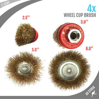"""4x BRAND NEW CUP WHEEL BRUSH 2.5"""" 3.0"""" 5.0"""" and 6.0"""" CRIMPED WIRE TOOL"""