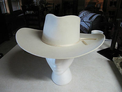Vintage 1950s 6 7/8 White Bandera Hat 5X Roy Rogers style