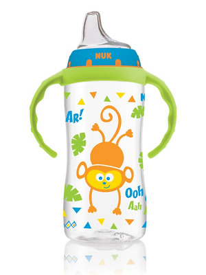 NUK Large Sippy Cup Jungle Pattern 10oz Boy Baby Feeding Dishes Utensils NEW