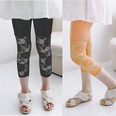 Cute Baby Kids Girls Ballet Lace Floral Tight Leggings Capris Pants Clothes 2-7Y