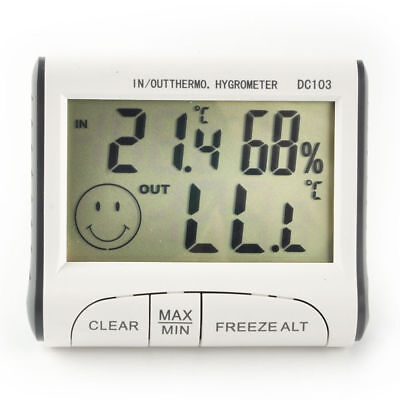 White Digital LCD Thermometer Hygrometer Humidity Outdoor Room Temperature Meter