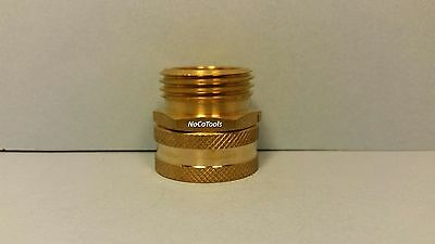 "Solid Brass Garden Hose Swivel Fitting 3/4"" Inch Female GHT X 3/4"" Inch Male GHT"