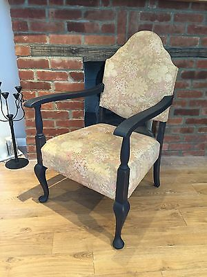 Vintage French Arm Chair Oak Carved Frames ( Free Local Delivery)