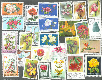 Flowers on stamps 200 all different collection -