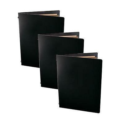 5x Deluxe Tuscan Leather Menu, Black A5 w 2 Pockets, Restaurant / Cafe Menus