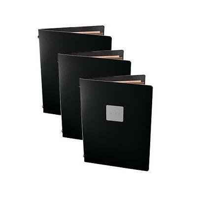 5x Deluxe Tuscan Leather Menu, Black A5 w 2 Pockets, 'Wine' Badge, Restaurant