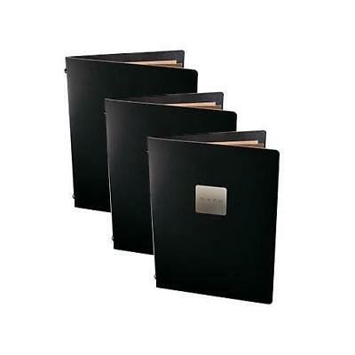 5x Deluxe Tuscan Leather Menu, Black A5 w 4 Pockets, 'Menu' Badge, Restaurant