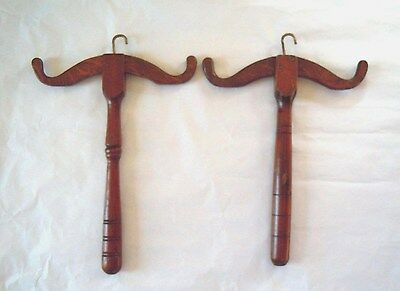 A Pair of Antique Mahogany Barrister's Court Wig/Gown Hangers Circa 1900