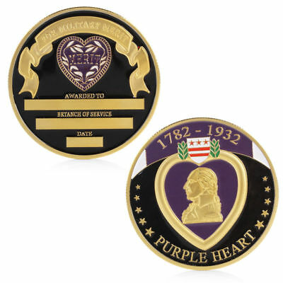 Gold Plated 1782-1932 Purple Heart For Military Merit Token Commemorative Coin