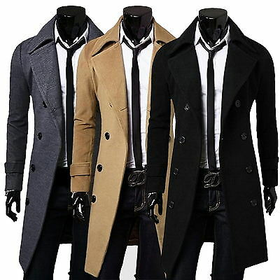 Mens Stylish Trench Coat Winter Long Jacket Double Breasted Overcoat Windbreaker