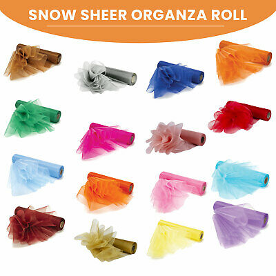 29cm x 25m Snow Sheer Organza Roll Sash Chair Bow Ribbon Wedding Reception Party