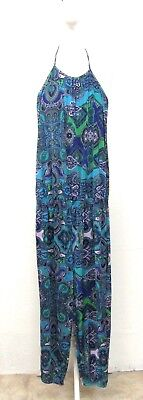 C&A VINTAGE 90s BLUE GREEN PURPLE PAISLEY HALTER NECK CROPPED JUMPSUIT SIZE 6