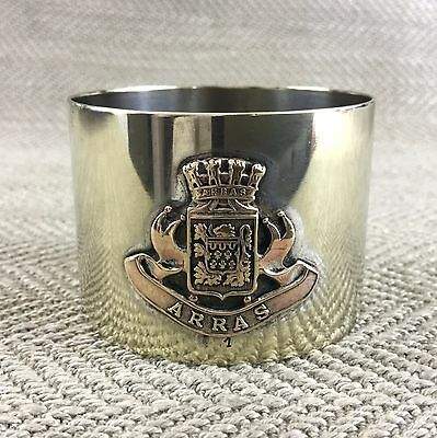 Antique Napkin Ring French Silver Plated Arras Pas de Calais Armorial Crest
