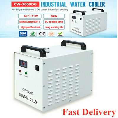 CW-3000DG Industrial Water Chiller with 60W/80W CO2 Glass Laser tube AC110V 60Hz