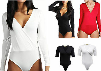 Womens Ladies Wrap Over V Neck Plunge Bodysuit Long Sleeve Leotard Plain Stretch