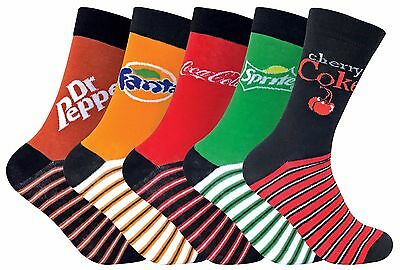 614671372681 Coca Cola - 5 Pack Mens / Ladies Striped Branded Novelty Cotton Socks with  Logo