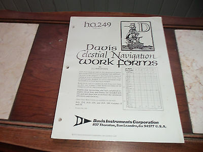 1972 Davis Celestial Navigation Work Forms By J.J. Roggeveen.h.o. 249 Vol 1 NOS