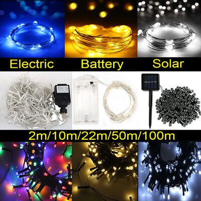 Battery String Solar Powered Fairy Lights  20-500 LED Xmas Party Decor Lights