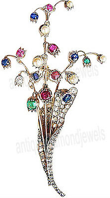 3.40ct ROSE CUT DIAMOND MIXED STONE'S .925 STERLING SILVER BROOCH PIN