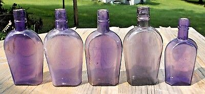 Lot Of 5 Purple Colored Coffin Whiskey Flasks 1890's Era Dug Decorative L@@k