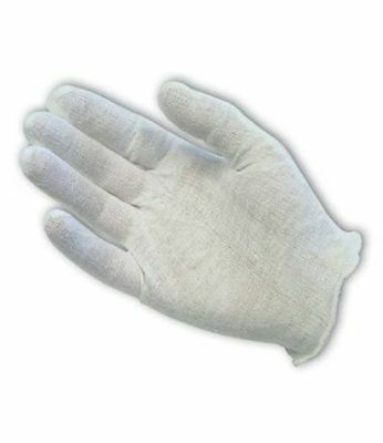 White Cotton Coin Gloves Large Size Hemmed at Wrist