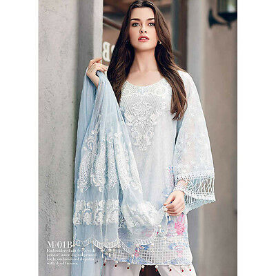 Designer Mahiymaan Ready Made Kameez Trouser Suit Embroidered Net Dupatta UK P&P